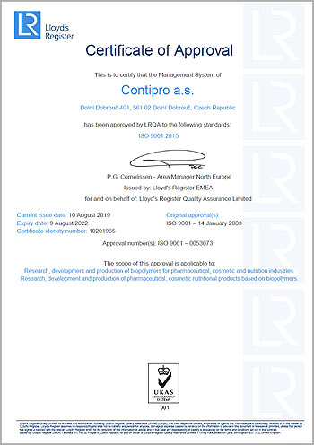 Contipro ISO 9001:2015 certificate of approval