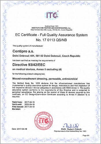 Sorelex – EC Certificate Full Quality Assurance System No. 17 0113 QS/NB