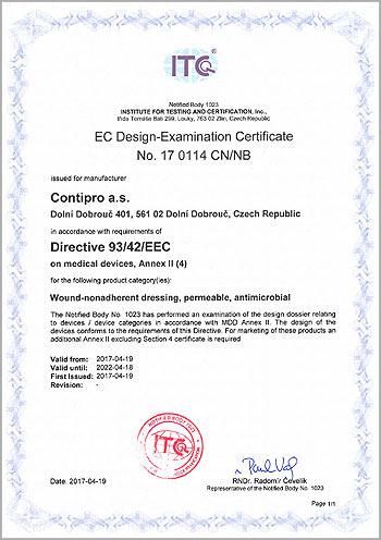 Sorelex – EC Design-Examination Certificate No. 17 0114 CN/NB